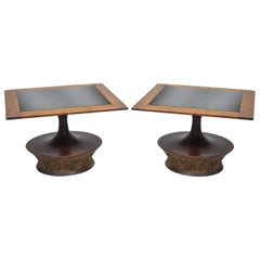 Pair of Mid-Century Modern Cork Sculpted Walnut Glass Square Low Side Tables
