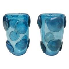 Pair of Mid-Century Modern Costantini Blue Murano Glass Italian Vases