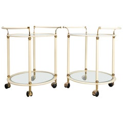 Pair of Mid-Century Modern Cream and Brass Bar Carts Drinks Trolley by Orsenigo