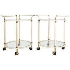 Pair of Mid-Century Modern Cream and Brass Bar Carts Drinks Trolley by Orsenigo