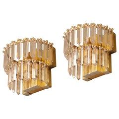 Pair of Mid-Century Modern Crystal, Brass and Chrome Sconces, France, 1970s