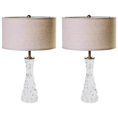 Pair of Mid-Century Modern Crystal Ice Lamps by Carl Fagerlund for Orrefors