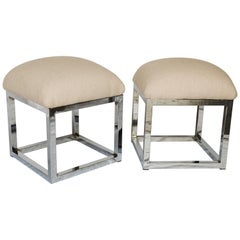 Pair of Mid-Century Modern Cube Chrome Ottomans Attributed to Milo Baughman