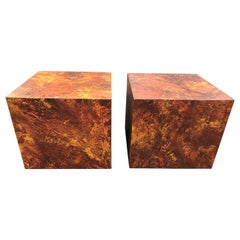 Pair of Mid-Century Modern Cube Tables in the Style of Paul Evans
