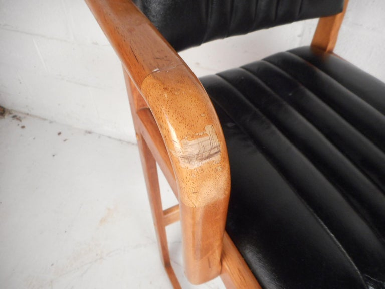 Faux Leather Pair of Mid-Century Modern Danish Bar Stools For Sale