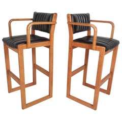 Pair of Mid-Century Modern Danish Bar Stools