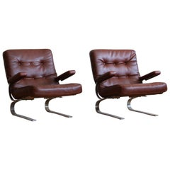 Pair of Mid-Century Modern Danish Leather Lounge Chairs