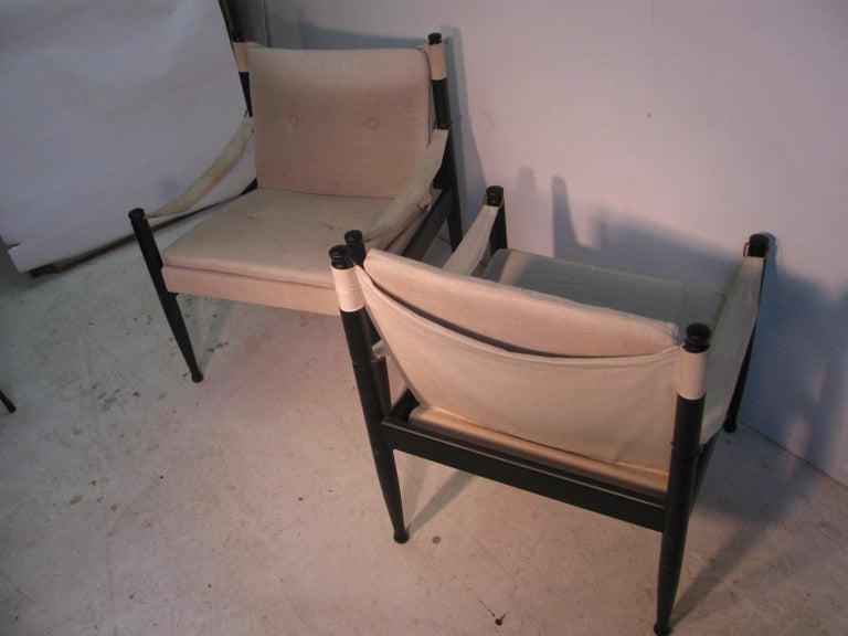 Pair of Mid-Century Modern Danish Safari Lounge Chairs by Erik Worts For Sale 3
