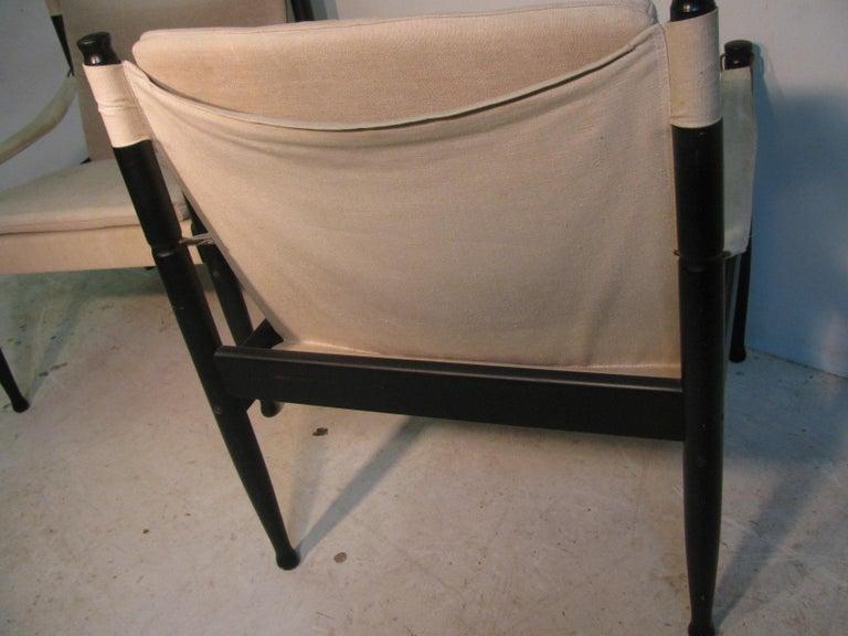 Pair of Mid-Century Modern Danish Safari Lounge Chairs by Erik Worts For Sale 4