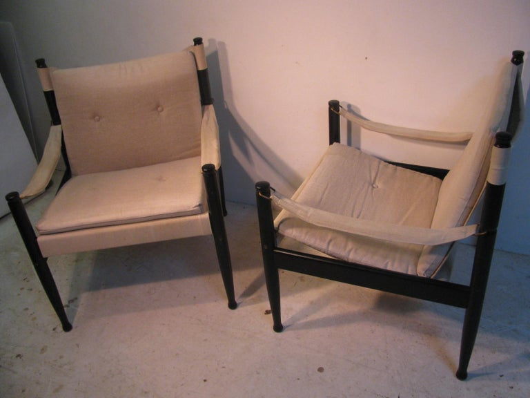 Pair of Mid-Century Modern Danish Safari Lounge Chairs by Erik Worts For Sale 5