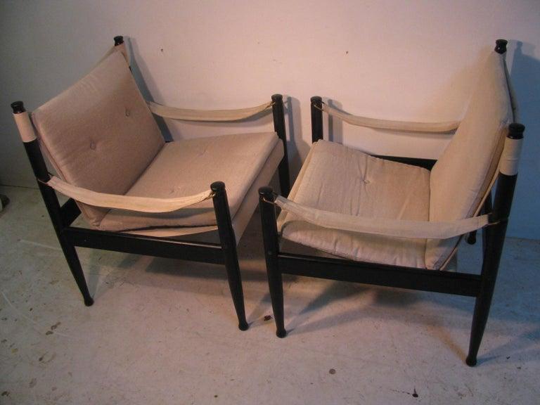 Pair of Mid-Century Modern Danish Safari Lounge Chairs by Erik Worts For Sale 6
