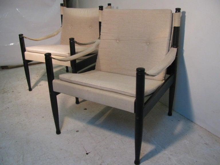 Scandinavian Modern Pair of Mid-Century Modern Danish Safari Lounge Chairs by Erik Worts For Sale