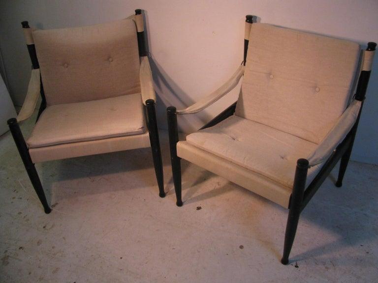 Ebonized Pair of Mid-Century Modern Danish Safari Lounge Chairs by Erik Worts For Sale
