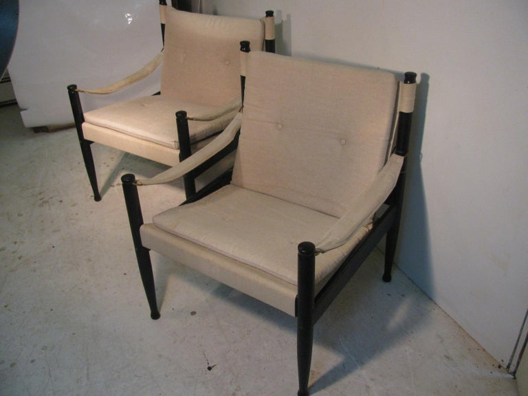 Pair of Mid-Century Modern Danish Safari Lounge Chairs by Erik Worts In Good Condition For Sale In Port Jervis, NY