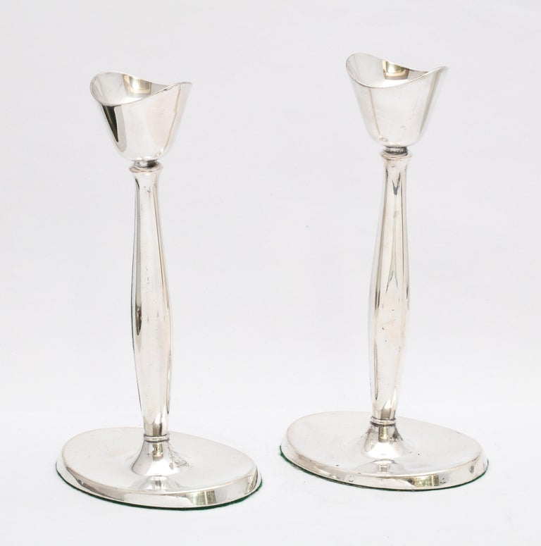 Pair of Mid-Century Modern Danish Sterling Silver Candlesticks by Cohr For Sale 6