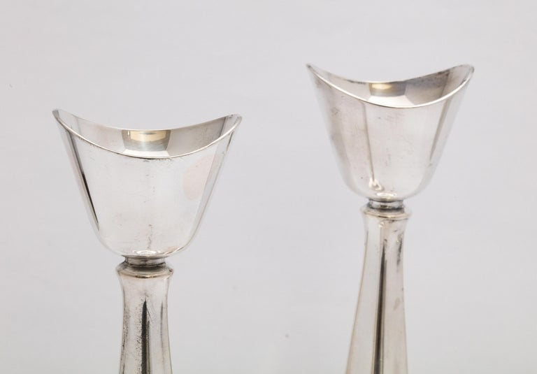 Pair of Mid-Century Modern Danish Sterling Silver Candlesticks by Cohr For Sale 3