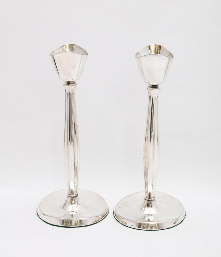 Pair of Mid-Century Modern Danish Sterling Silver Candlesticks by Cohr For Sale 4