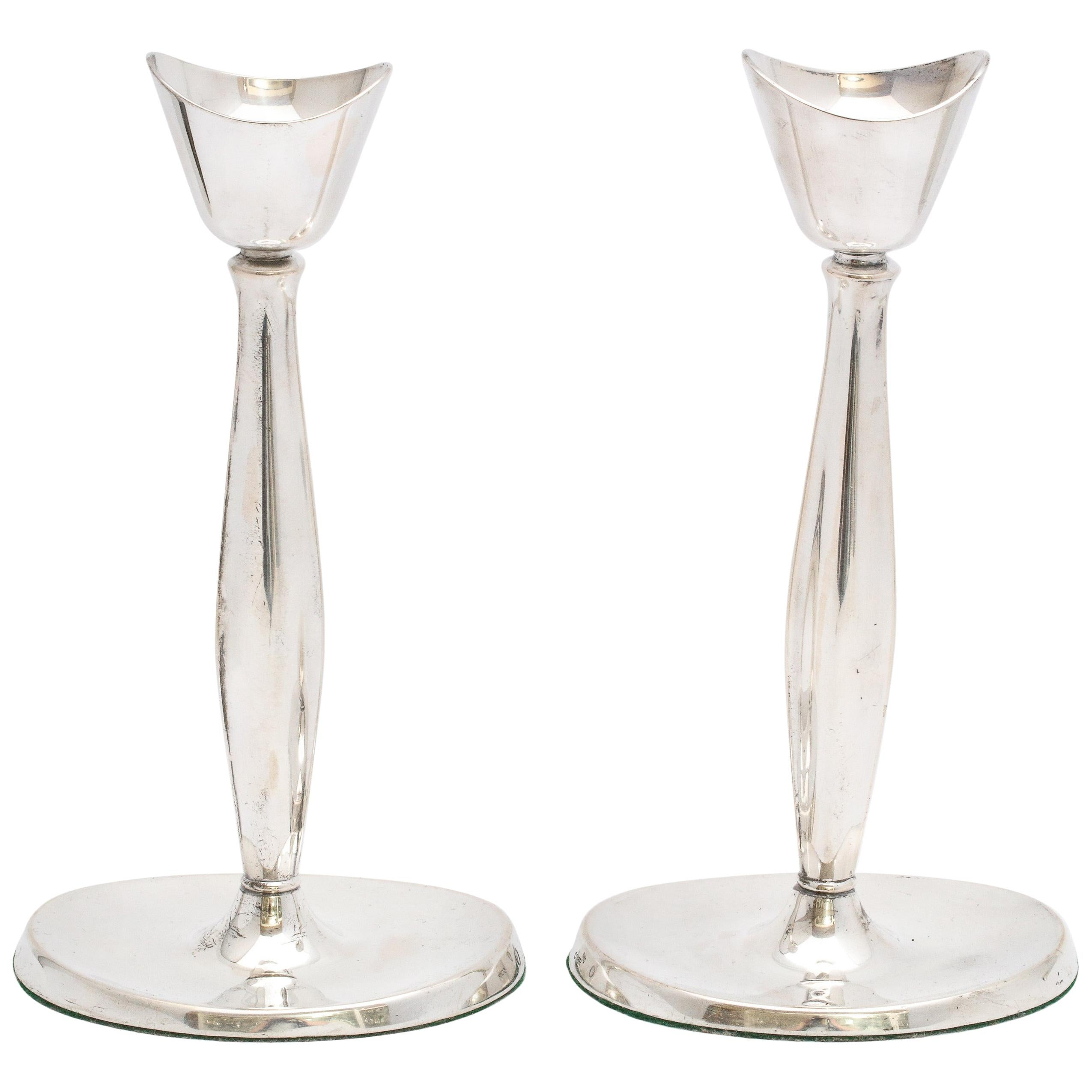 Pair of Mid-Century Modern Danish Sterling Silver Candlesticks by Cohr