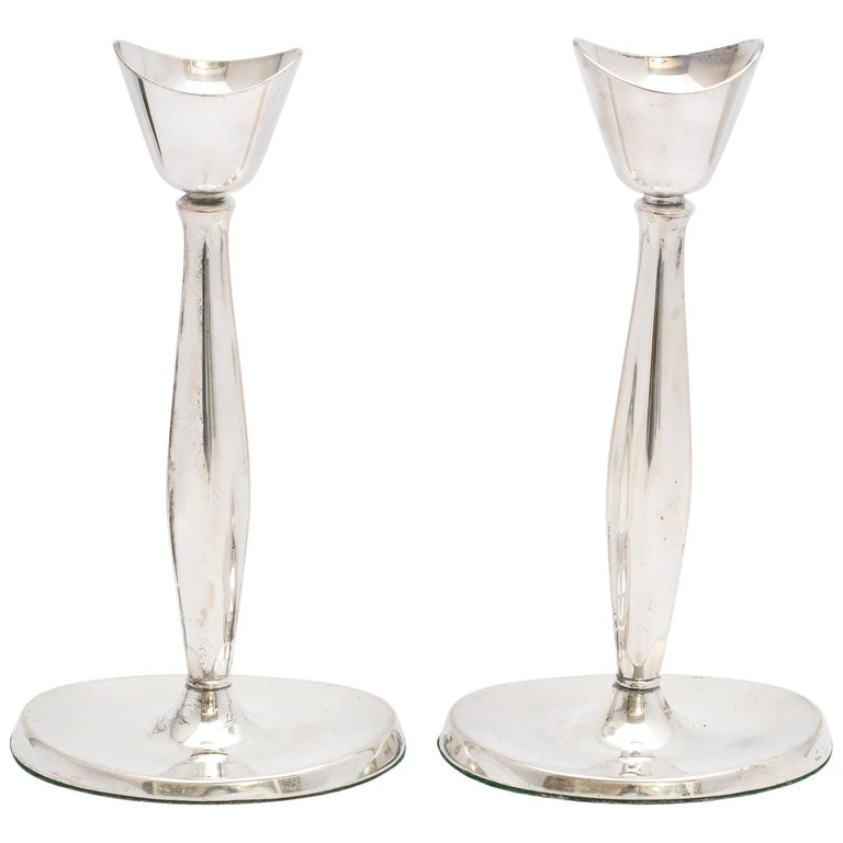 Pair of Mid-Century Modern Danish Sterling Silver Candlesticks by Cohr For Sale