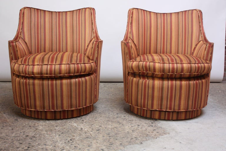 American Pair of Mid-Century Modern Diminutive Swivel Chairs For Sale