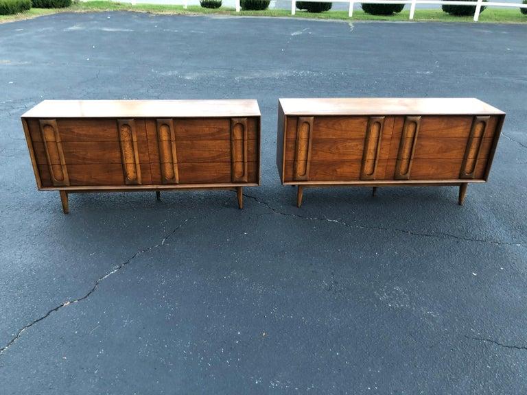 Walnut Pair of Mid-Century Modern Dressers by Lane