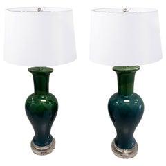 Pair of Mid-Century Blue/ Green Drip Glaze Ceramic Lamps