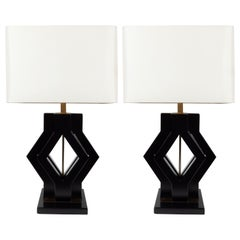 Pair of Mid-Century Modern Ebonized Walnut and Brass Geometric Table Lamps