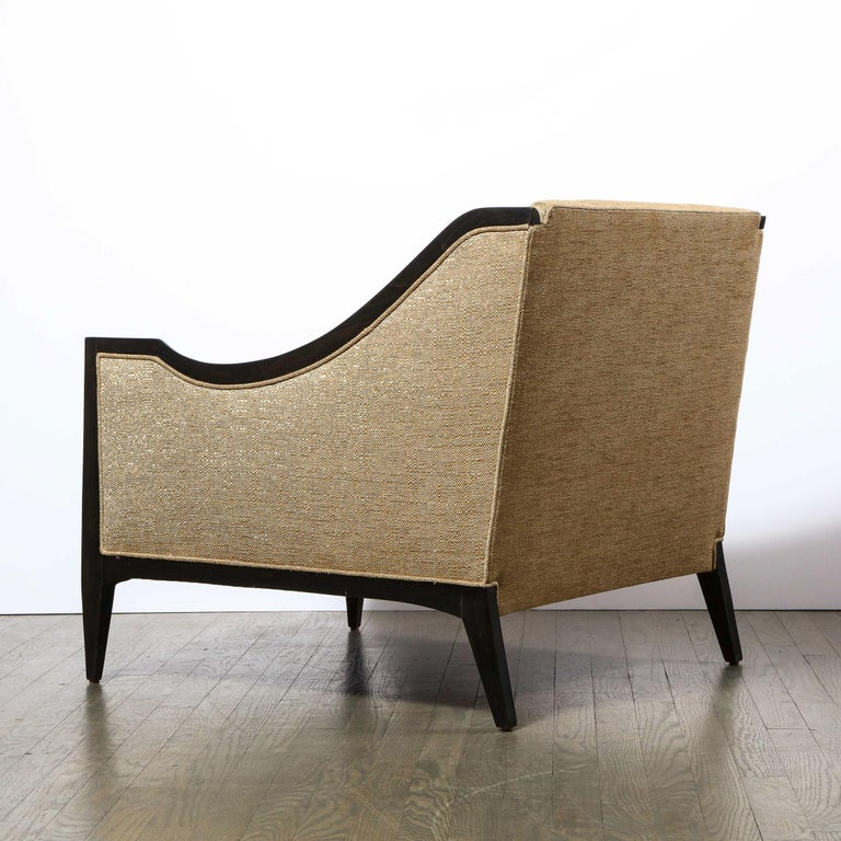 Pair of Mid-Century Modern Ebonized Walnut Club Chairs in Gold Holly Hunt Fabric For Sale 5