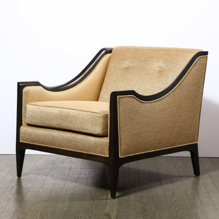 Pair of Mid-Century Modern Ebonized Walnut Club Chairs in Gold Holly Hunt Fabric For Sale 6