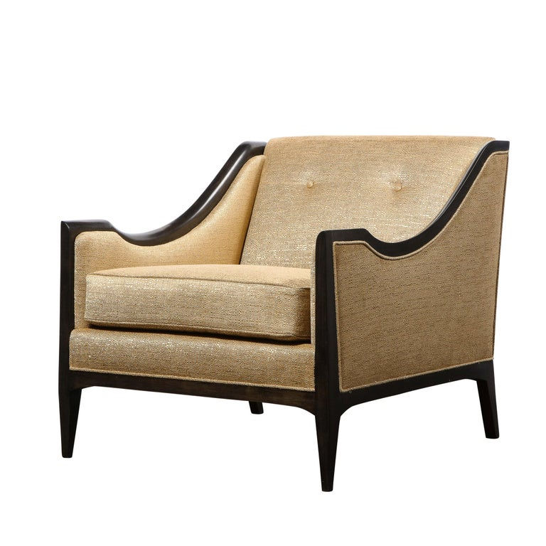Pair of Mid-Century Modern Ebonized Walnut Club Chairs in Gold Holly Hunt Fabric For Sale 7