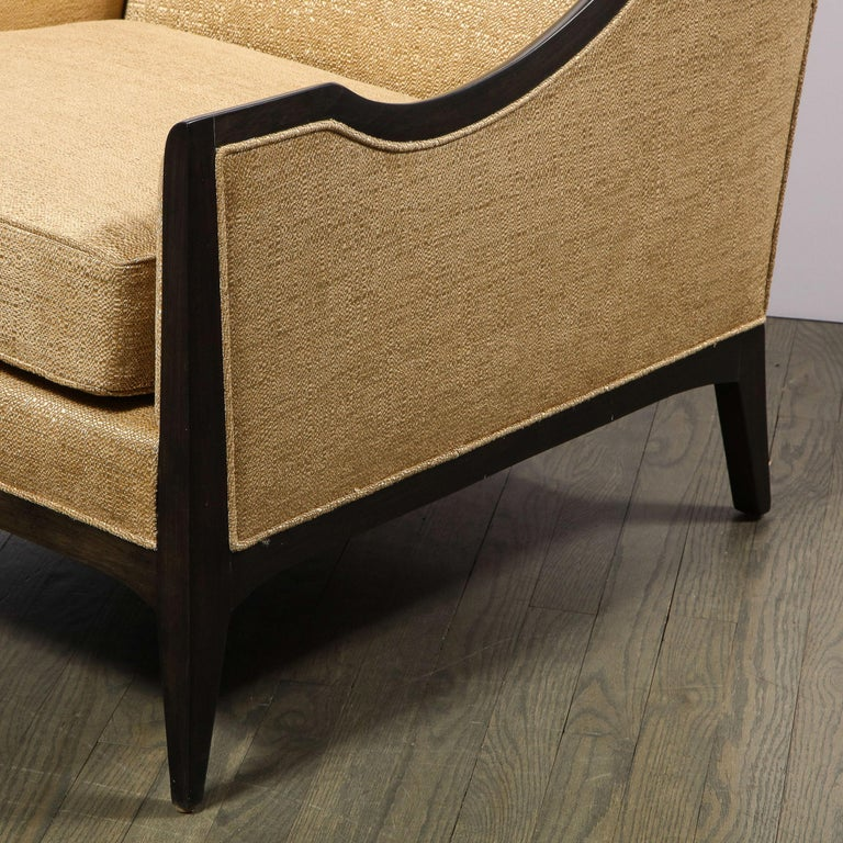 Pair of Mid-Century Modern Ebonized Walnut Club Chairs in Gold Holly Hunt Fabric For Sale 9