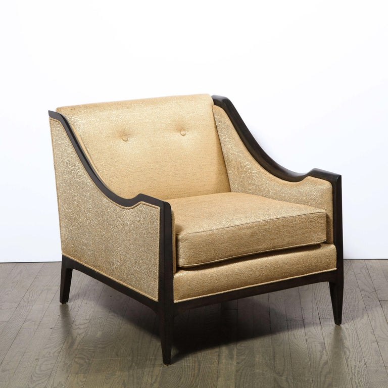 American Pair of Mid-Century Modern Ebonized Walnut Club Chairs in Gold Holly Hunt Fabric For Sale