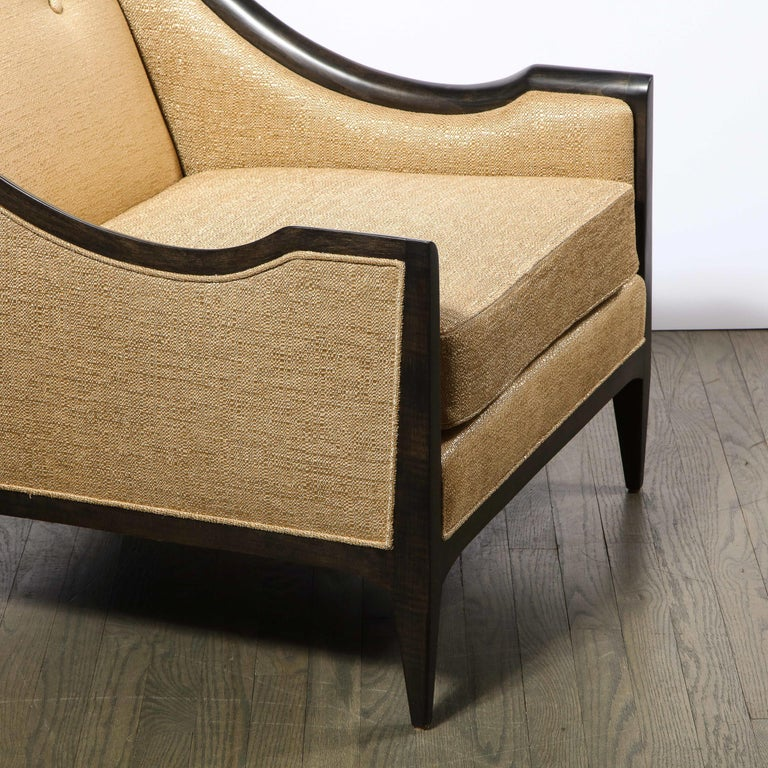 Pair of Mid-Century Modern Ebonized Walnut Club Chairs in Gold Holly Hunt Fabric For Sale 1