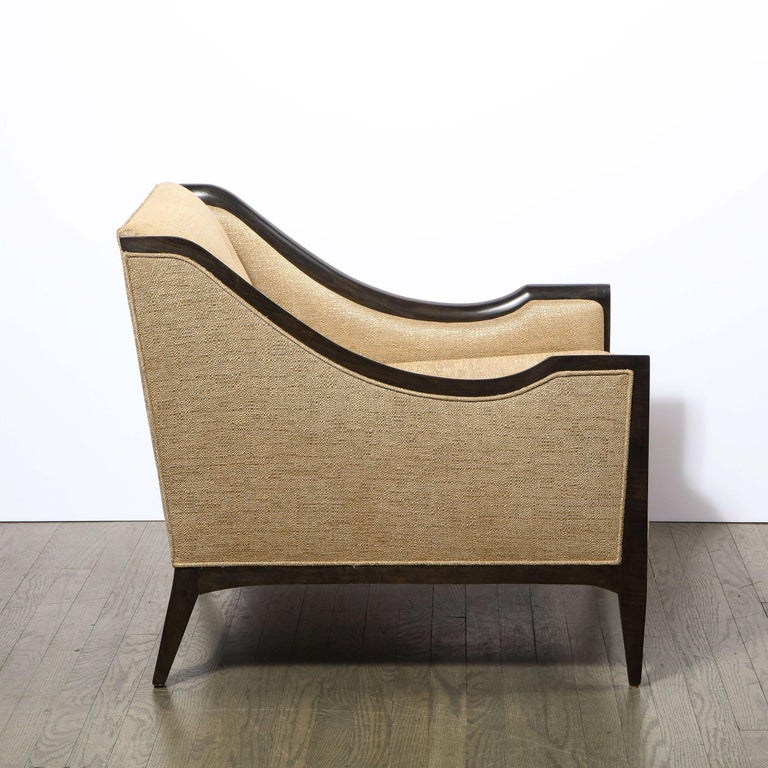 Pair of Mid-Century Modern Ebonized Walnut Club Chairs in Gold Holly Hunt Fabric For Sale 2