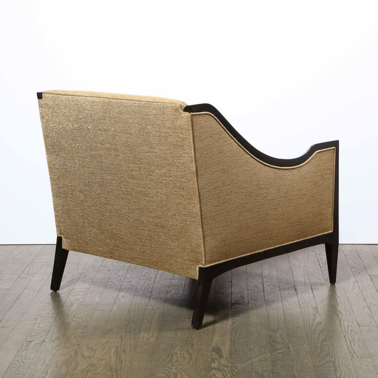 Pair of Mid-Century Modern Ebonized Walnut Club Chairs in Gold Holly Hunt Fabric For Sale 3
