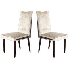 Pair of Mid-Century Modern Ebonized Walnut & Platinum Velvet Side Chairs