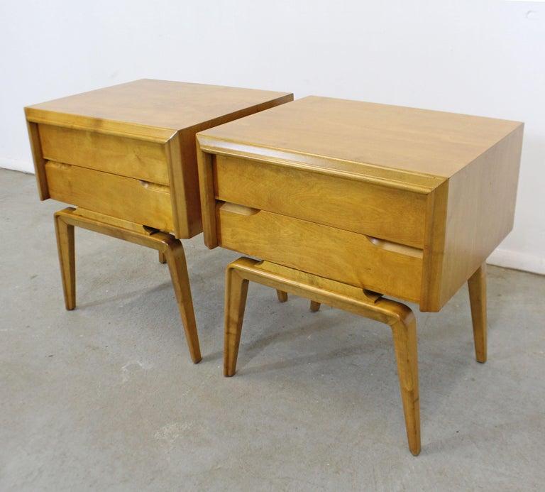 American Pair of Mid-Century Modern Edmond J. Spence Sculpted Birch Nightstands For Sale
