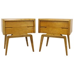 Pair of Mid-Century Modern Edmond J. Spence Sculpted Birch Nightstands