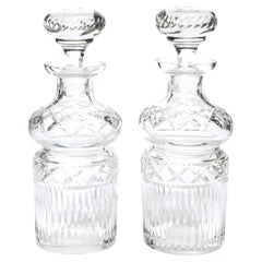 Pair of Mid-Century Modern Etched Translucent Crystal Decanters
