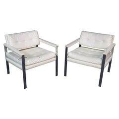 Pair of Mid-Century Modern Milo Baughman Style Steel Flat Bar Club Chairs