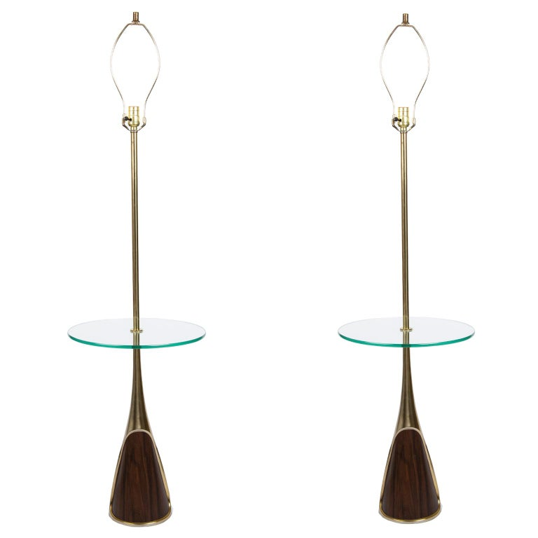 Brass Pair of Mid-Century Modern Floor Lamps by the Laurel Lamp Company, Usa For Sale