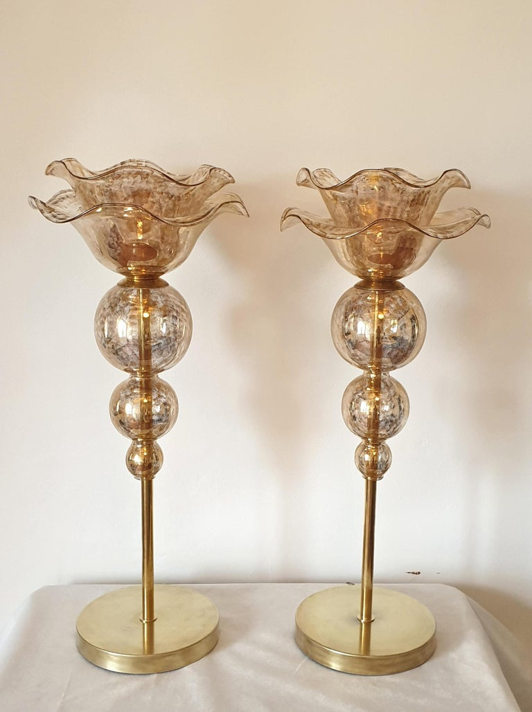 Large pair of Mid-Century Modern flower Murano glass table lamps, attributed to Seguso, Italy 1960s.
