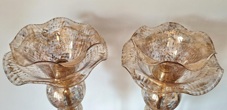 Mid-20th Century Pair of Mid-Century Modern Flower Murano Glass Table Lamps, Attributed to Seguso For Sale