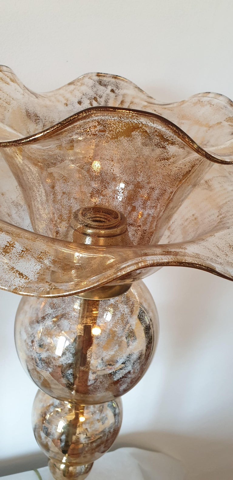 Pair of Mid-Century Modern Flower Murano Glass Table Lamps, Attributed to Seguso For Sale 2