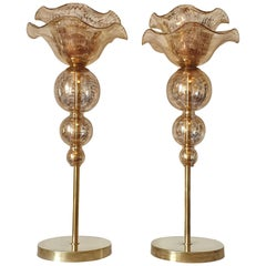 Pair of Mid-Century Modern Flower Murano Glass Table Lamps, Attributed to Seguso