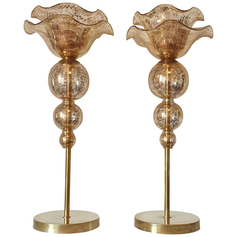 Pair of Mid-Century Modern Flower Murano Glass Table Lamps, Attributed to Seguso For Sale