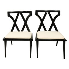 Pair of Mid-Century Modern French Black Lacquered Side Chairs, circa 1960s