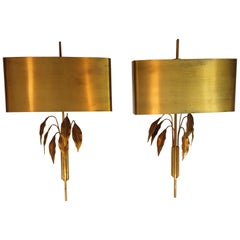 Pair of Mid-Century Modern French Brass Wall Lights