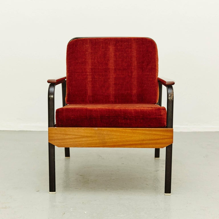 Mid-20th Century Pair of Mid-Century Modern French Easy Chairs after Jean Prouvé, circa 1950 For Sale