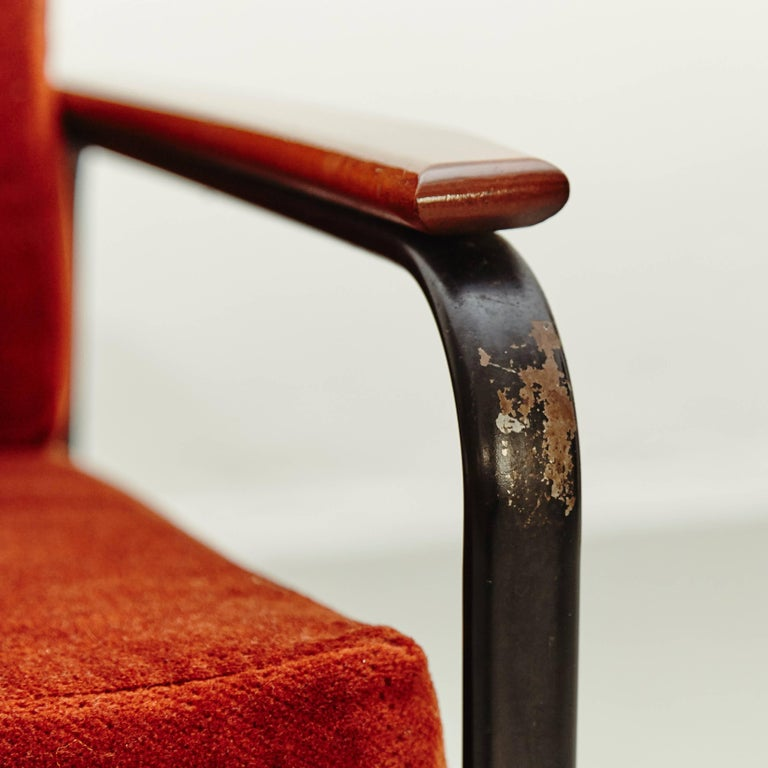 Metal Pair of Mid-Century Modern French Easy Chairs after Jean Prouvé, circa 1950 For Sale